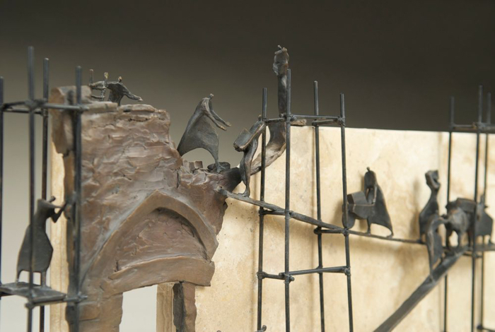 "Rebuilding, Detail,  24""x11""x6"", bronze with Jerusalem marble, Limitied Edition 12"