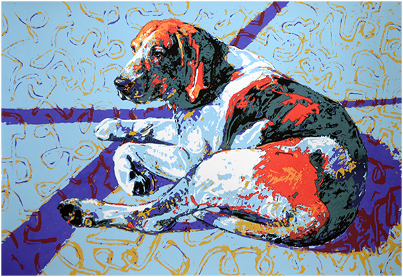 Right Dizygotic Hound, Image: 19 1/4 x 28, Framed: 27 1/2 x 36 1/2, Hand-pulled Serigraph