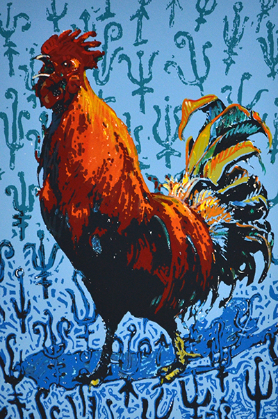 Rooster, 17x13, Original Hand-pulled Serigraph