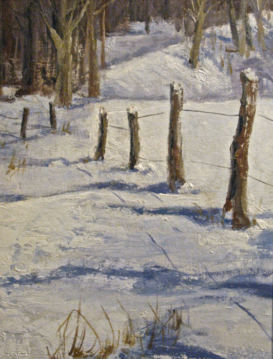 SOLD - Soft Winter Shadows, 14x11, oil
