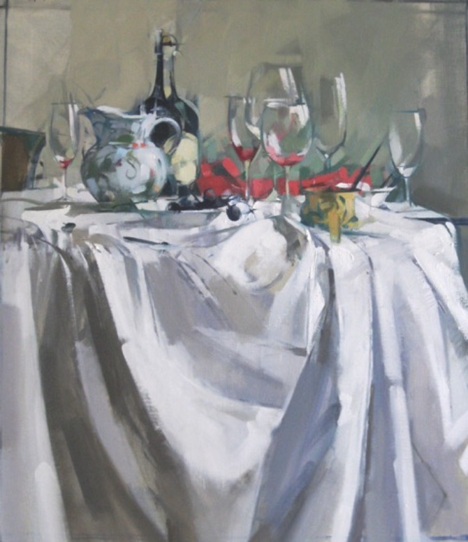 Table Magenta,  24x28, oil on linen