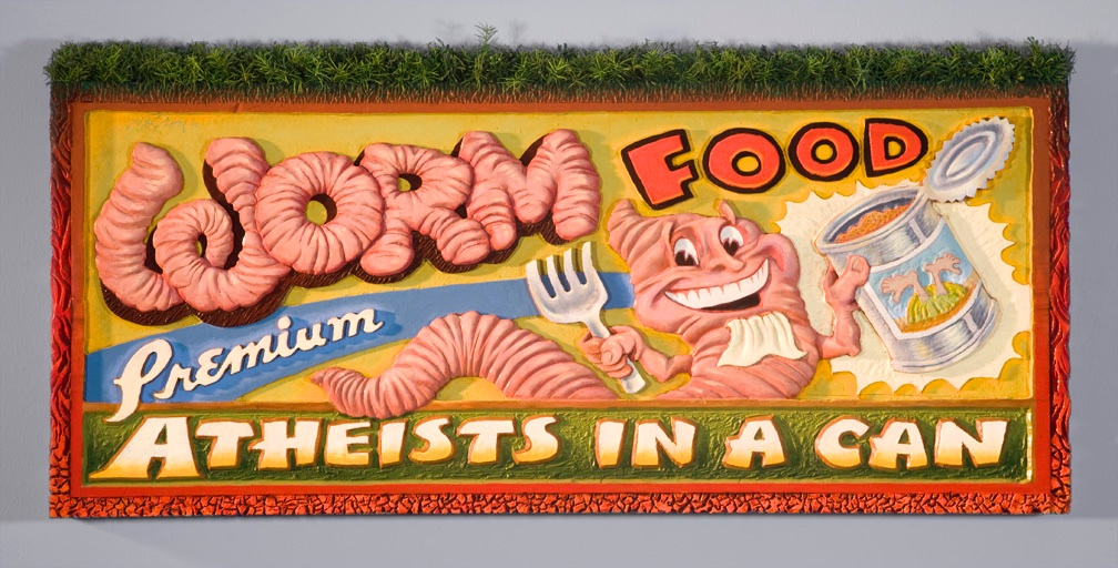 SOLD - Wormfood • 38x17, poplar wood, oils, plastic grass - $2900
