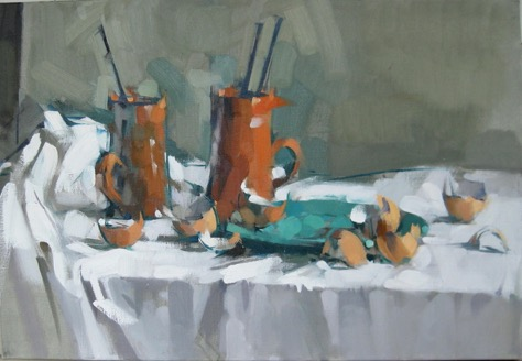 Red Cups, 18x26, oil on linen