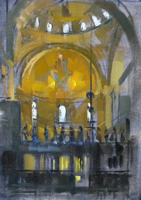 SOLD - San Marco Lit Dome, 16x9, oil on linen